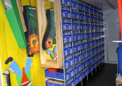 Hier wurden spezielle Klappboxen verwendet in welche die Experimentierkästen gesetzt werden