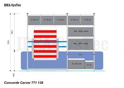 Skizze Concorde Carver 138cm hoch mit Heizung an der Rückwand.  Regalsystem mit 40er Längseinschub, 60er Boxen im Quereinschub und 40/20er Piccolo Boxenkombination unten vor der Heizung