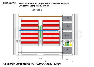 Skizze Concorde Credo 125cm hoch mit Heizung an der Rückwand.   Regalsystem mit 40er Boxen und 140cm Camp-Anbau