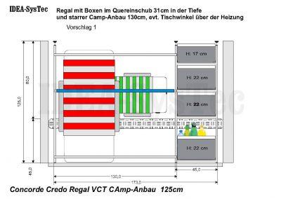 Skizze Concorde Credo 125cm hoch mit Heizung an der Rückwand.   Regalsystem mit 40er Boxen und 130cm Camp-Anbau.
