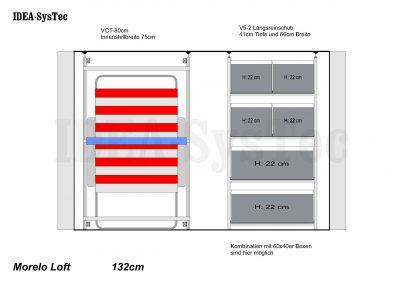 Skizze Morelo Loft 132cm hoch mit VCT-80cm und Regalsystem mit 40er und 60er Boxenkombination