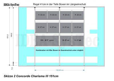 Skizze Concorde Charisma mit Heizung an der Rückwand.  Regalsystem mit 40er und 60er Boxenkombination