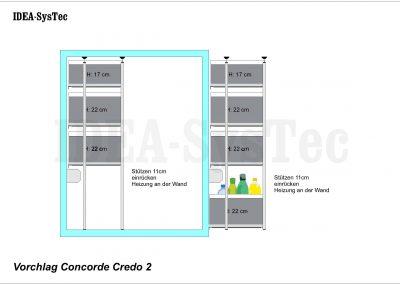 Skizze Concorde Credo mit Heizung an der Rückwand.  Seitenansicht