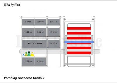 Skizze Concorde Credo mit Heizung an der Rückwand.  VCT-80cm und Regalsystem mit 40er und 60er Boxenkombination