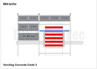 Skizze Concorde Credo mit Regalsystem für Boxen im Längseinschub 41cm Tiefe und Camp-Unterbau