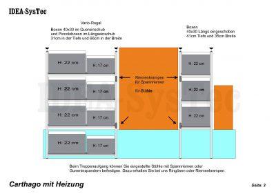 Regalsystem IDEA Kombination mit 31er und 41er Tiefe rechts und links vom Treppenaufgang