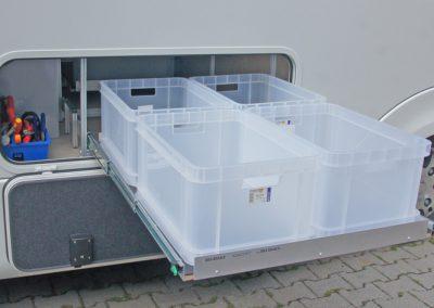 Concorde Auszug mit transparenten Gies Boxen. Lastindex 100 Kg. Mit weniger sollten Sie sich nicht zufrieden geben.