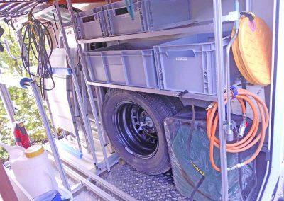 Kundenfoto Reserveradhalterung von HYMER umgebaut und an der Zurrleiste montiert.