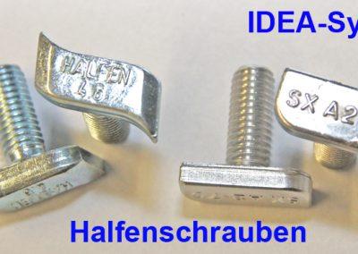 Halfen Schraube 4,6 gebogen oder SX A2-70 gerade  Halfenschrauben 4.6 Typ28/15 galvanisch verzinkt  gebogen für die obere 45 Grad Zurrleiste.   SX A2-70 passt auch in die untere gerade C-Schiene