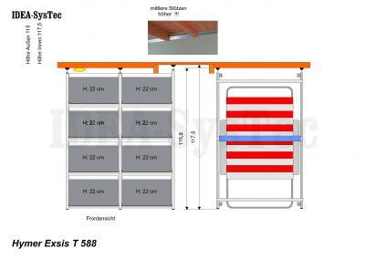 Skizze Hymer Exsis T 588 mit unterschiedlicher Deckenhöhe