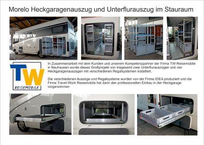 In Zuammenarbeit mit TW-Reisemobile wurde dieses Großprojekt von insgesamt 6 Auszügen in einem Morelo umgesetzt.