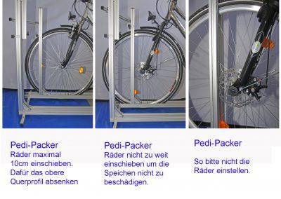 Die verstellbare obere Quertraverse verhindert, das die Räder zu weit nach vorne kommen.