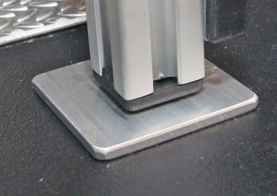 Alu-Plättchen 4x4cm als DRuckausgleich für dünnen Plastikboden