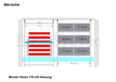 Skizze Morelo Home 119cm hoch mit Heizung an der Rückwand. VCT und Regal für Boxen im Quereinschub