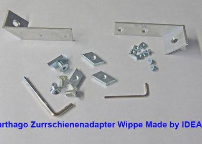 Carthago Zurrschienenadapter Wippe Made by IDEA. Für den Rollerhalter wird eine Variante von unserem Carthago-Adapter mit zwei Bohrung verwendet.