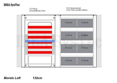 Skizze Morelo Loft 132cm hoch mit VCT-80cm und Regalsystem mit 40er Boxenim Quereinschub