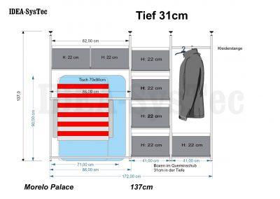Skizze Morelo Palace 137cm hoch mit Camp-Unterbau und Kleiderständer