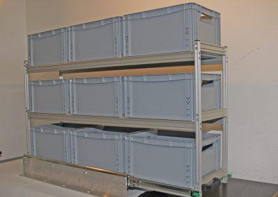 Bodenauszug mit aufgesetztem Regal und 3 Boxenebenen.