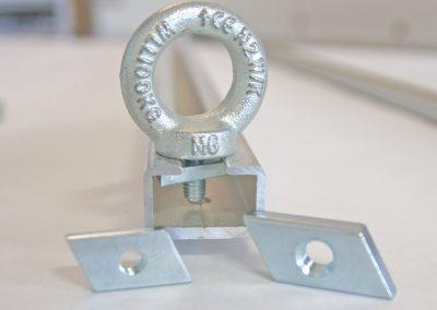 C Schiene 28x15x8mm und Ringöse mit unserem Trapezstein klein oder groß M6 oder M8 Gewinde